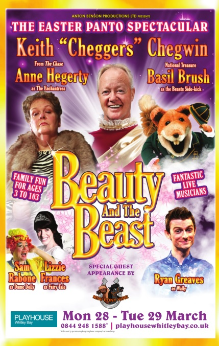 Easter Pantomime: Anton Benson Productions Ltd Presents 'Beauty and the Beast' with National Treasure Keith Chegwin, Anne Hegerty from ITV's The Chase and the legendary Basil Brush